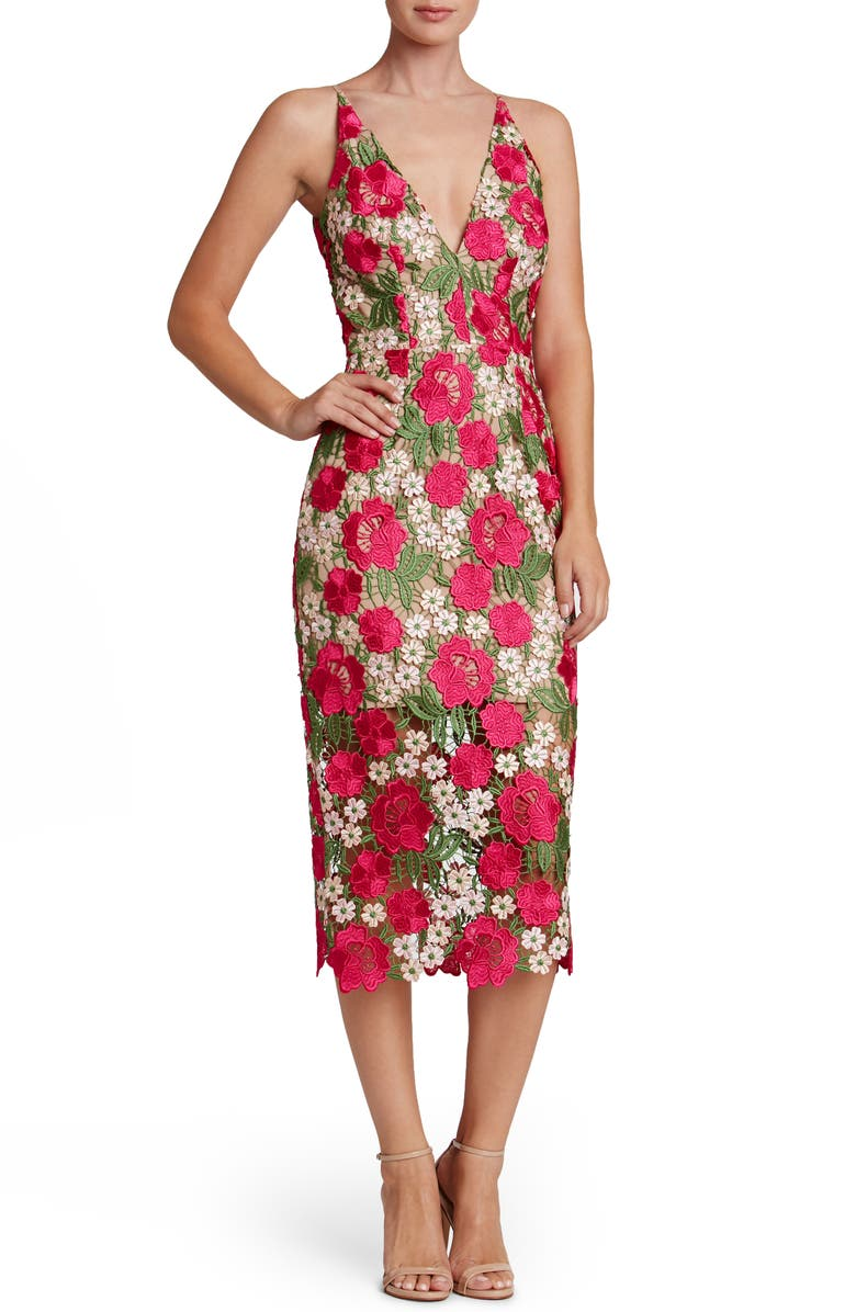 DRESS THE POPULATION Aurora Floral Crochet Midi Dress, Main, color, 668