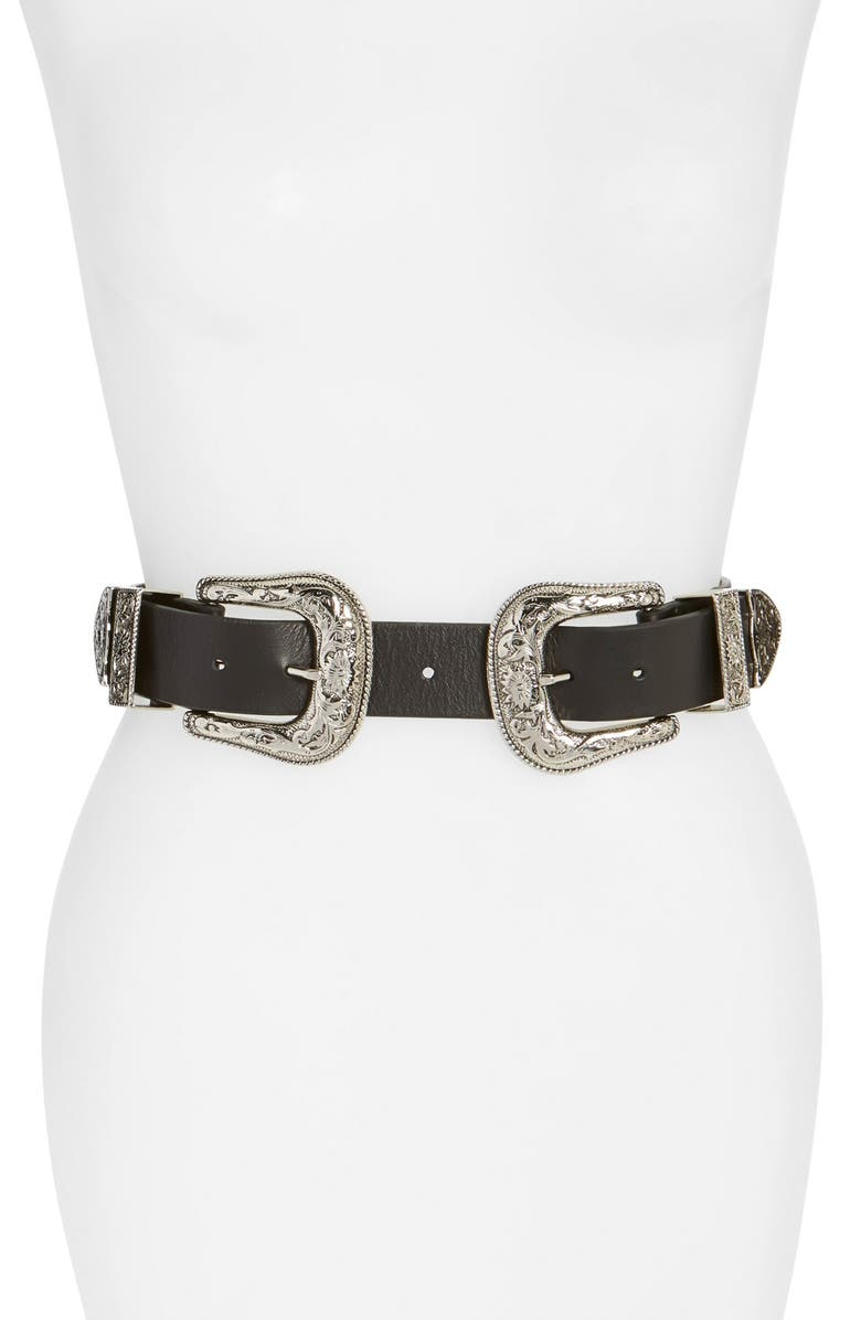 B-LOW THE BELT Bri Bri Waist Belt, Main, color, BLACK/ SILVER