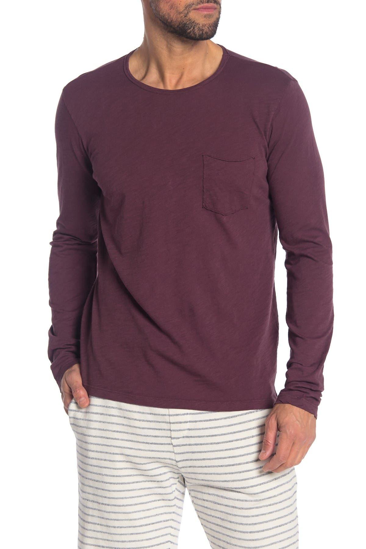 Velvet By Graham Spencer Simeon Crew Long Sleeve Pocket Slub T Shirt Nordstrom Rack