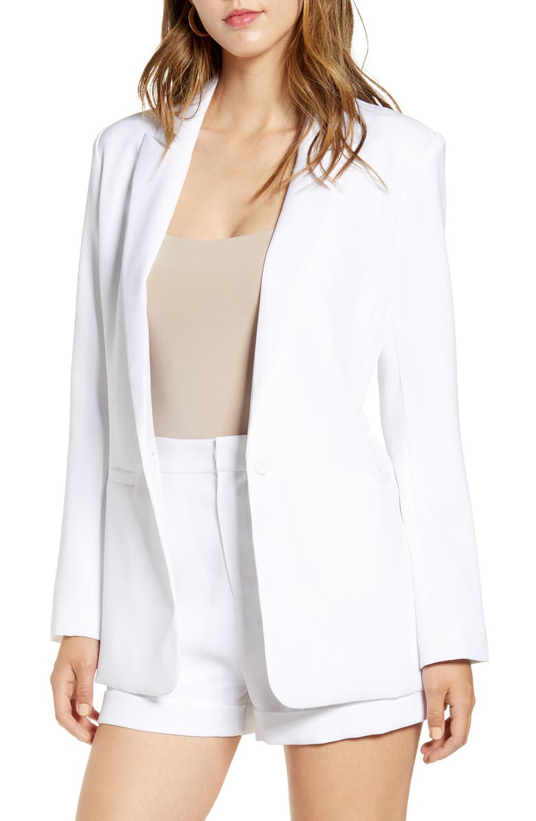 ENDLESS ROSE Tailored Single Button Blazer, Main, color, WHITE