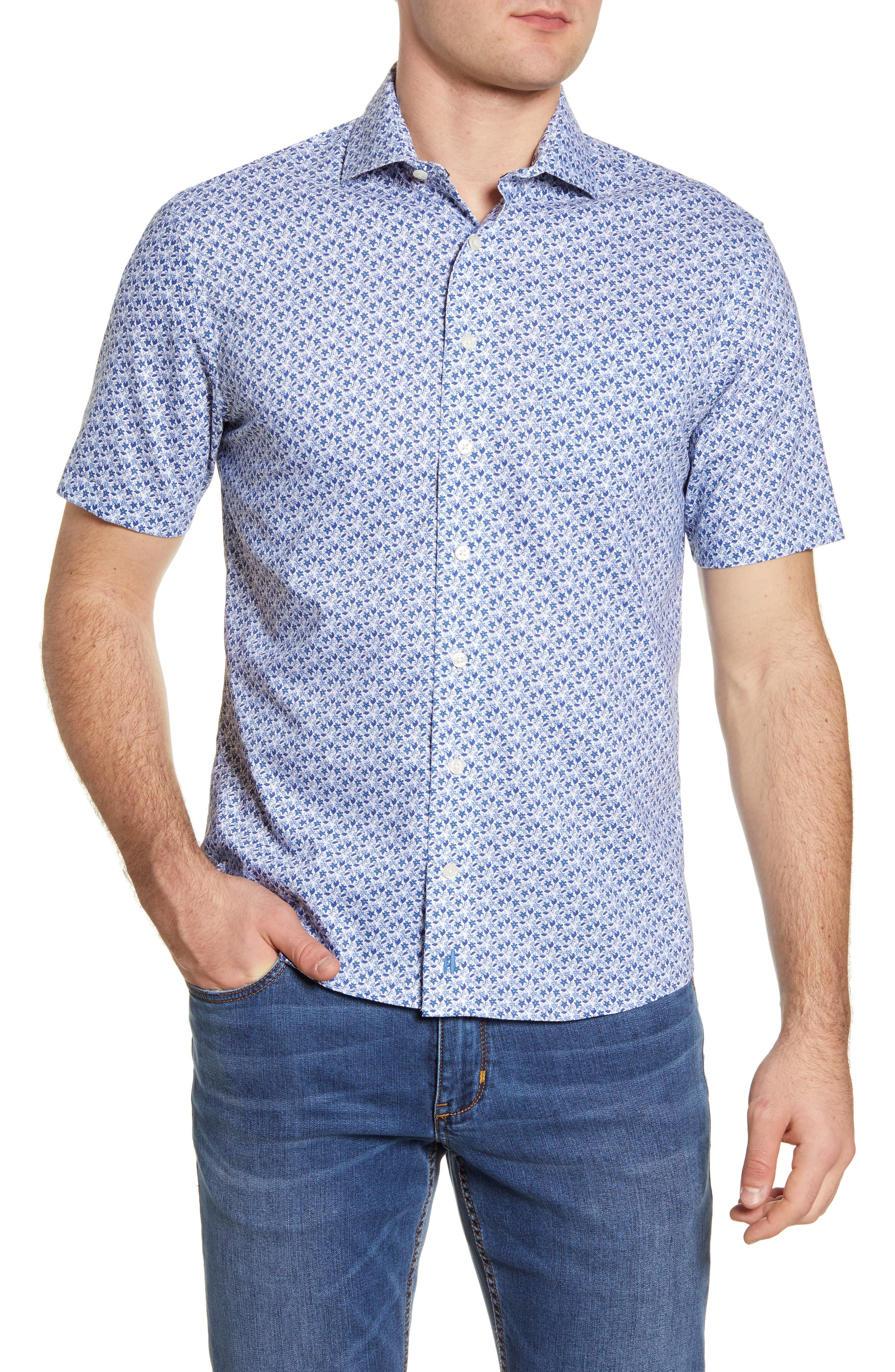 Marco Prep-Performance Floral Short Sleeve Button-Up Shirt