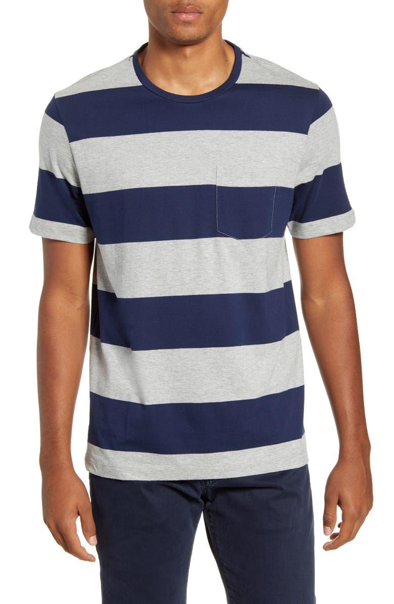1901 Stripe Pocket Slim Fit T-Shirt, Main, color, GREY HEATHER NAVY STRIPE