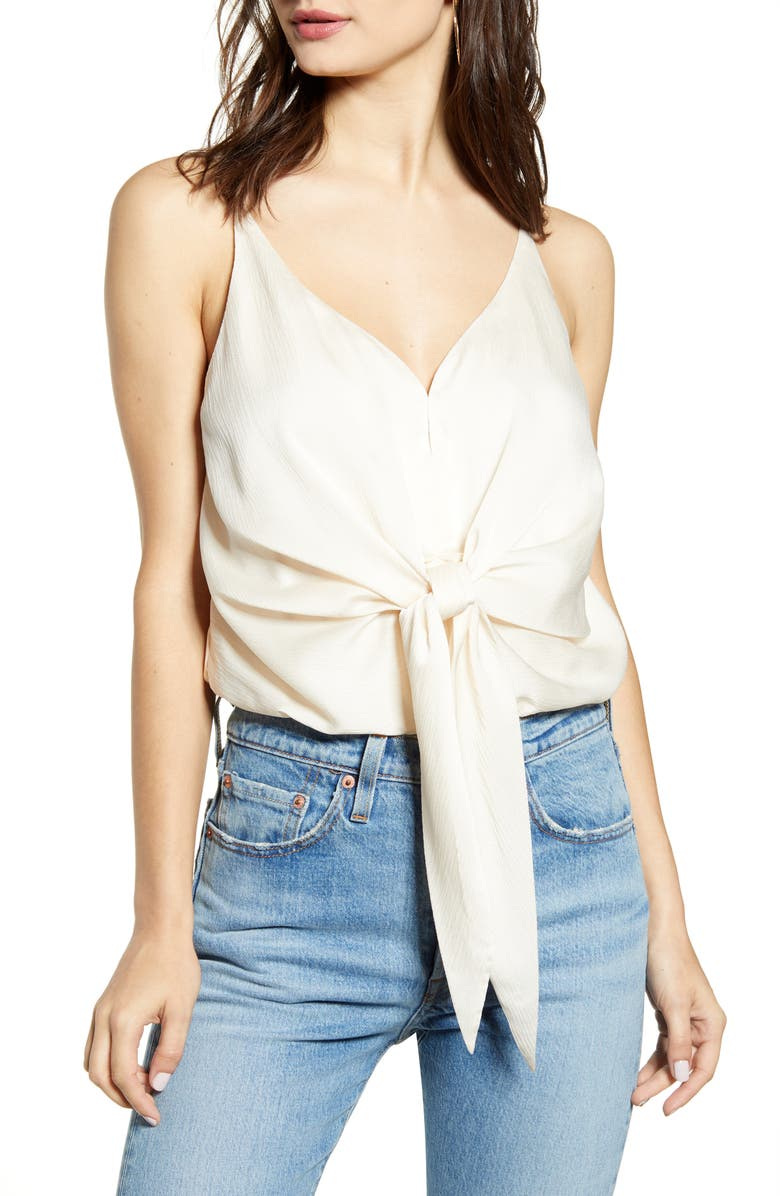J.O.A. Tie Front Crepe Bodysuit, Main, color, 250