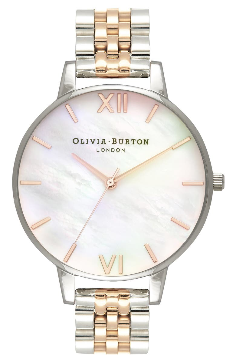 OLIVIA BURTON Bracelet Watch, 38mm, Main, color, SILVER/ MOP/ ROSE GOLD