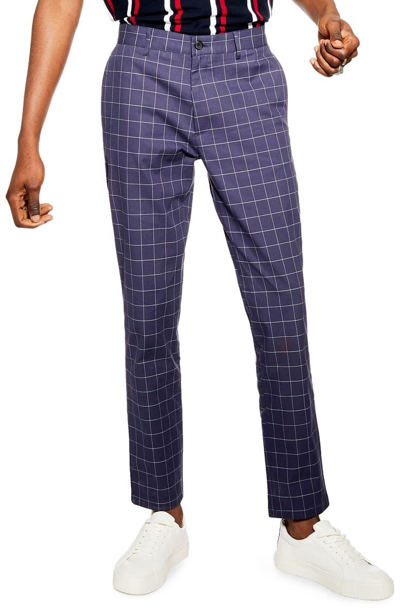 TOPMAN Windowpane Dress Pants, Main, color, NAVY BLUE