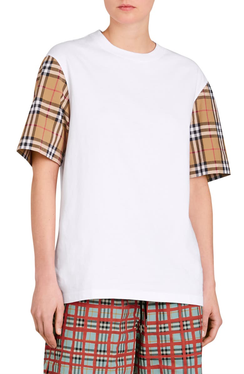 BURBERRY Serra Vintage Check Sleeve Tee, Main, color, WHITE