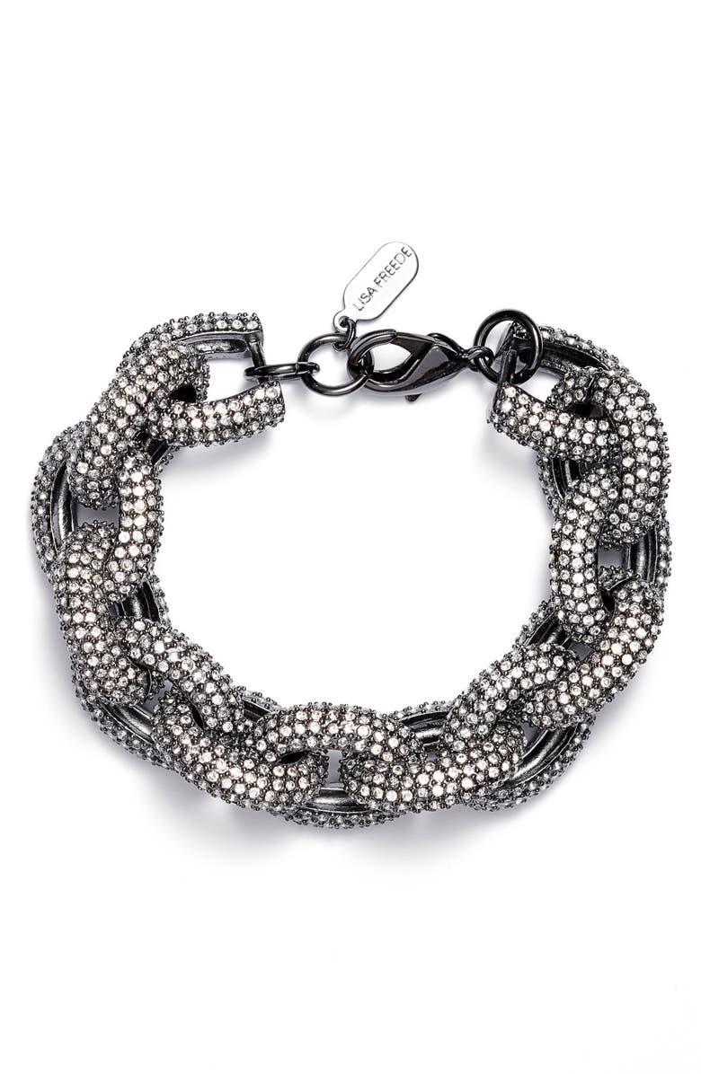 LISA FREEDE Cubic Zirconia Link Bracelet, Main, color, GUNMETAL