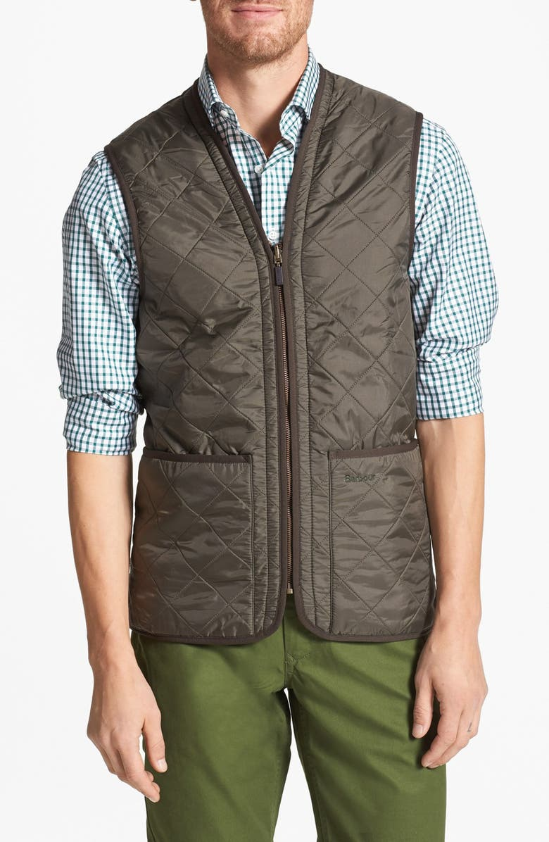 BARBOUR 'Polarquilt' Relaxed Fit Zip-In Liner Vest, Main, color, OLIVE