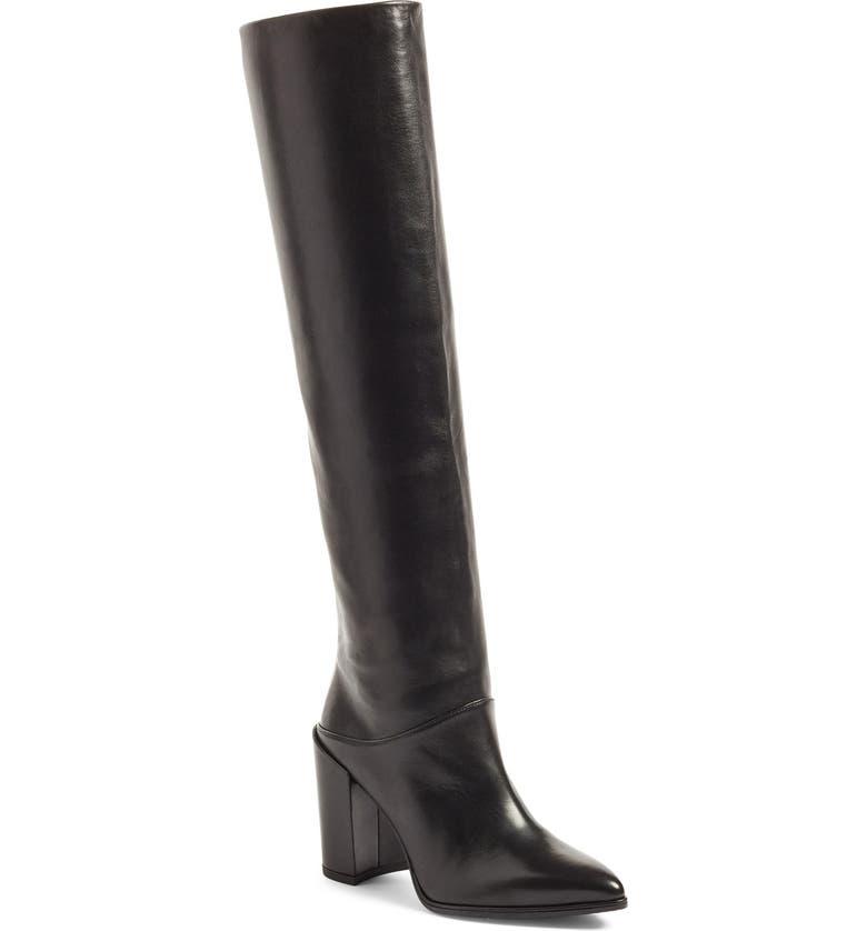 STUART WEITZMAN Scrunchy Leather Knee High Boot, Main, color, 001
