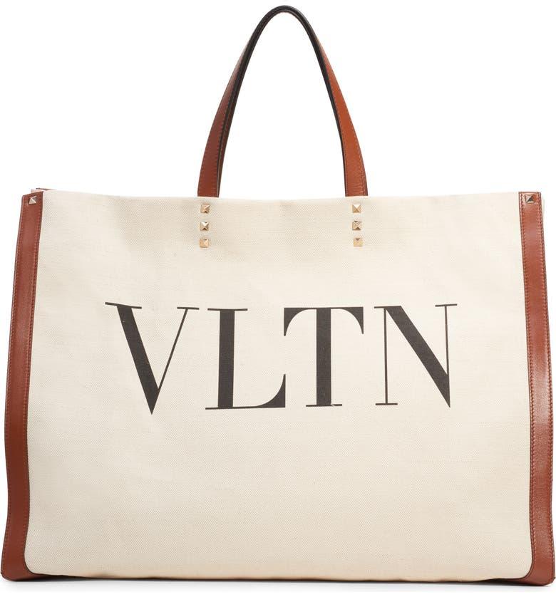 VALENTINO GARAVANI Grande Plage VLTN Logo Tote, Main, color, NATURALE/ NERO/ BRIGHT COGNAC