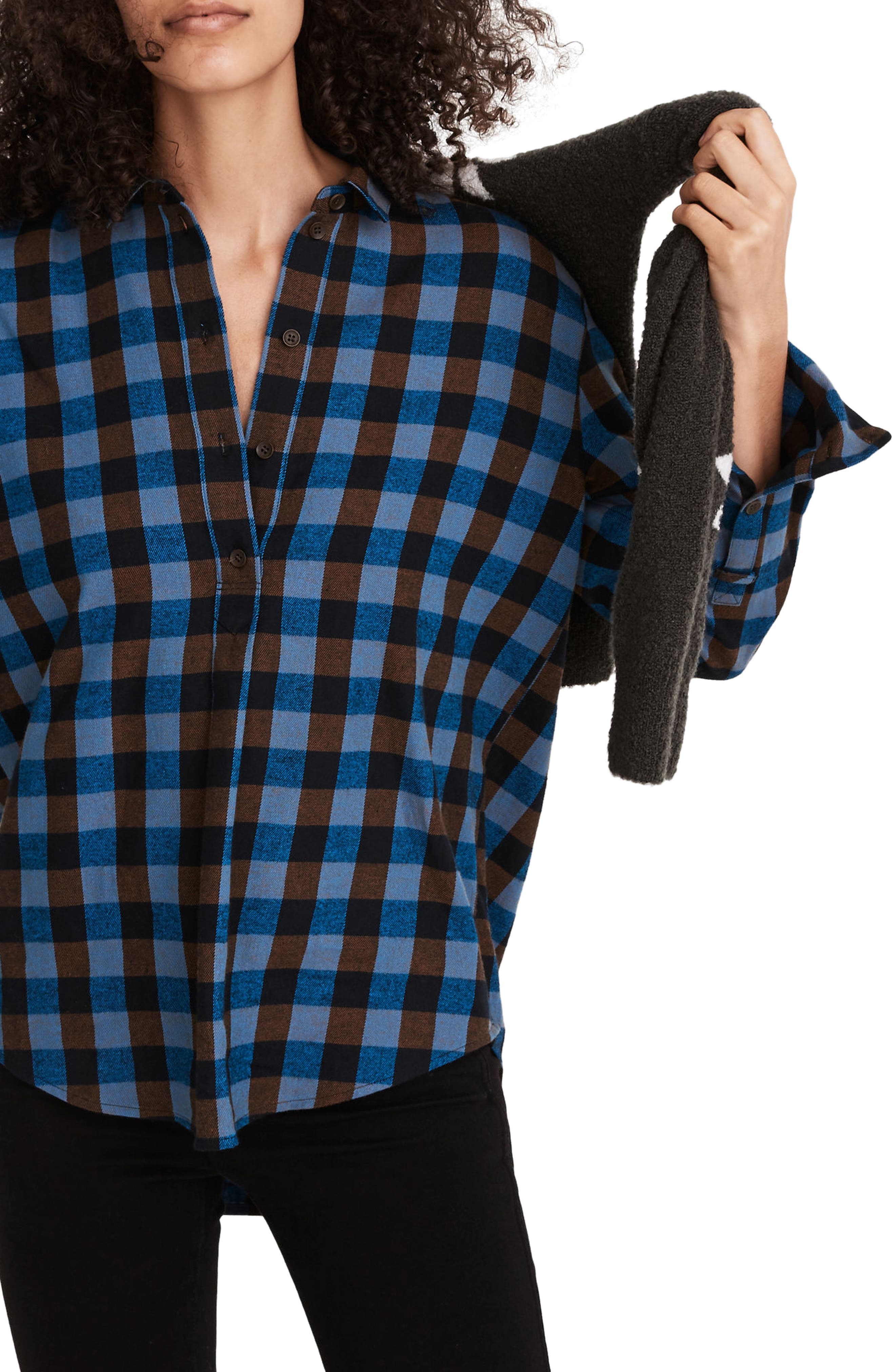 Madewell Drop Shoulder Flannel Popover Top   Nordstrom