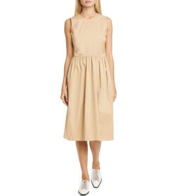 Sies Marjan Violetta Gathered Waist Stretch Cotton Midi Dress, Beige