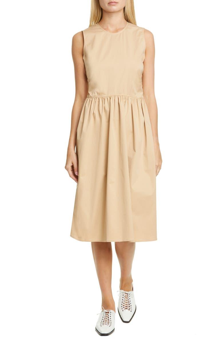 SIES MARJAN Violetta Gathered Waist Stretch Cotton Midi Dress, Main, color, SOBA