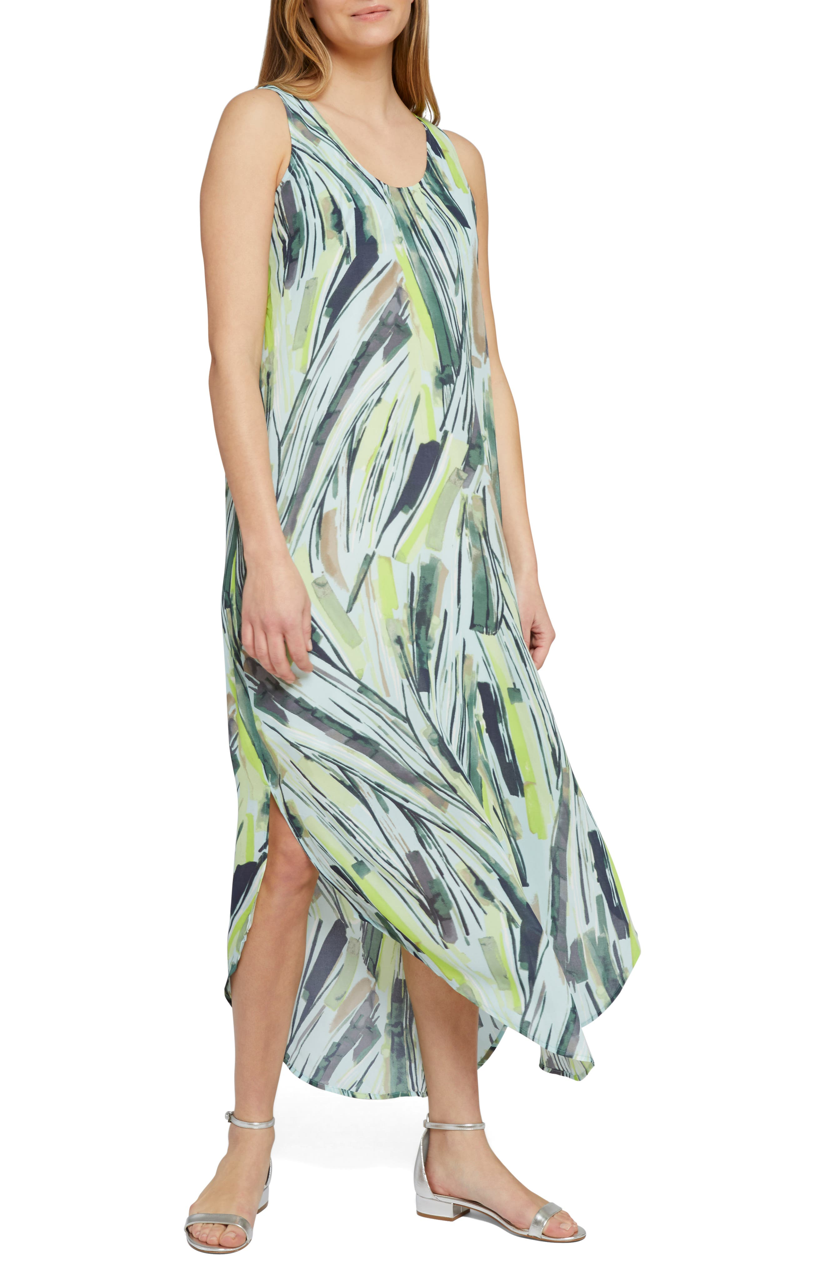 Petite Nic+Zoe Palm Maxi Dress, Green