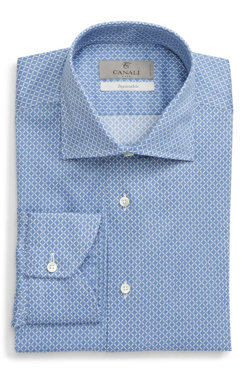 CANALI Impeccabile Extra Trim Fit Geometric Dress Shirt, Main, color, MED BLUE