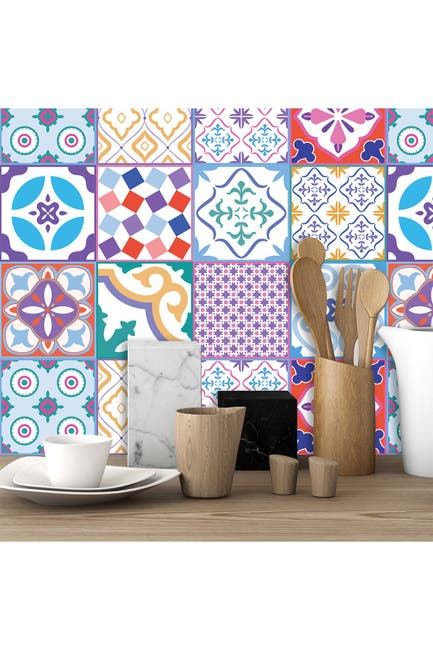 Image of WalPlus Classic Moroccan Colorful Mixed Tiles Wall Stickers - 6 x 6 inches - 24 Pieces