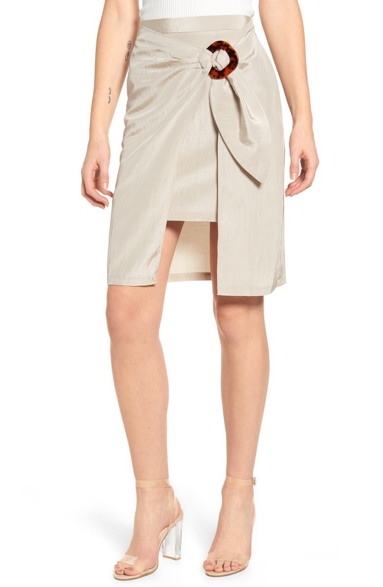 J.O.A. Wrap Front Side Buckle Skirt, Main, color, 270