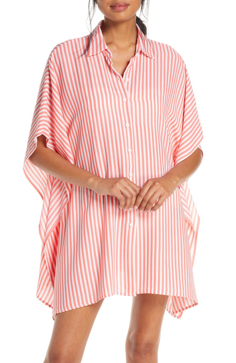 TOMMY BAHAMA Palm Party Boyfriend Tunic Shirt, Main, color, PARADISE CORAL
