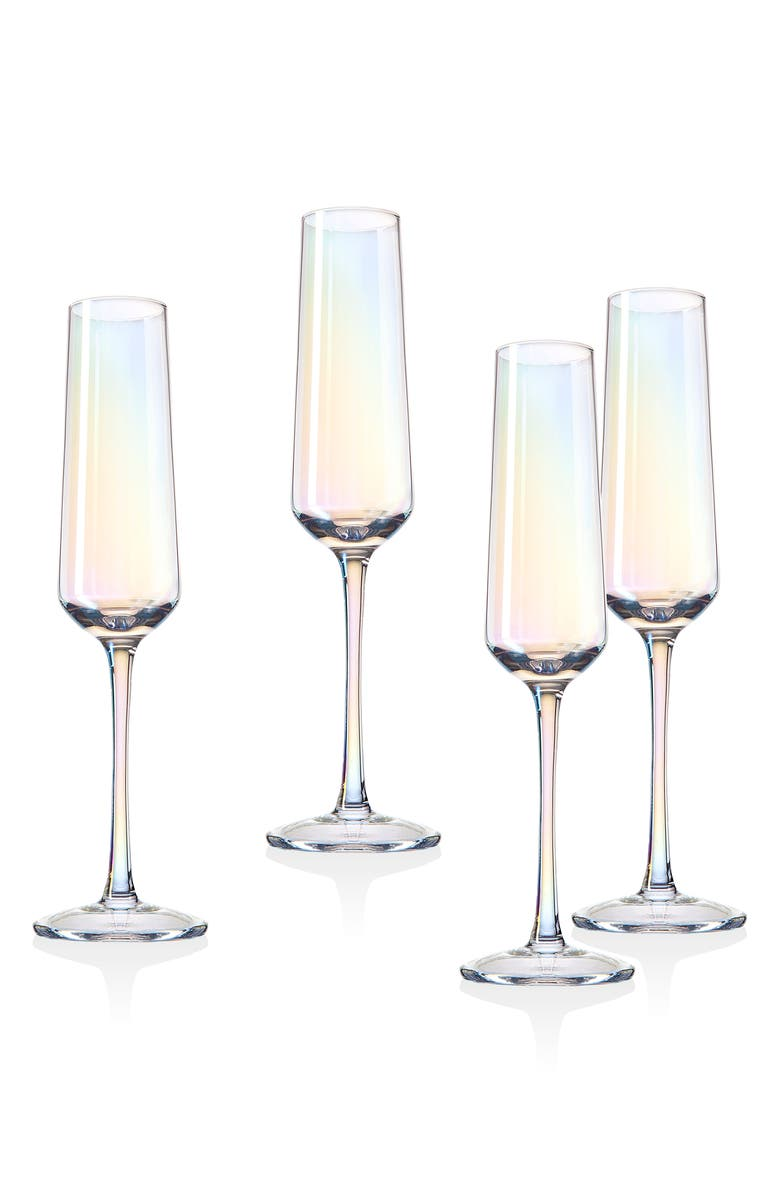 GODINGER Iridescent Set of 4 Champagne Glasses, Main, color, IRIDESCENT