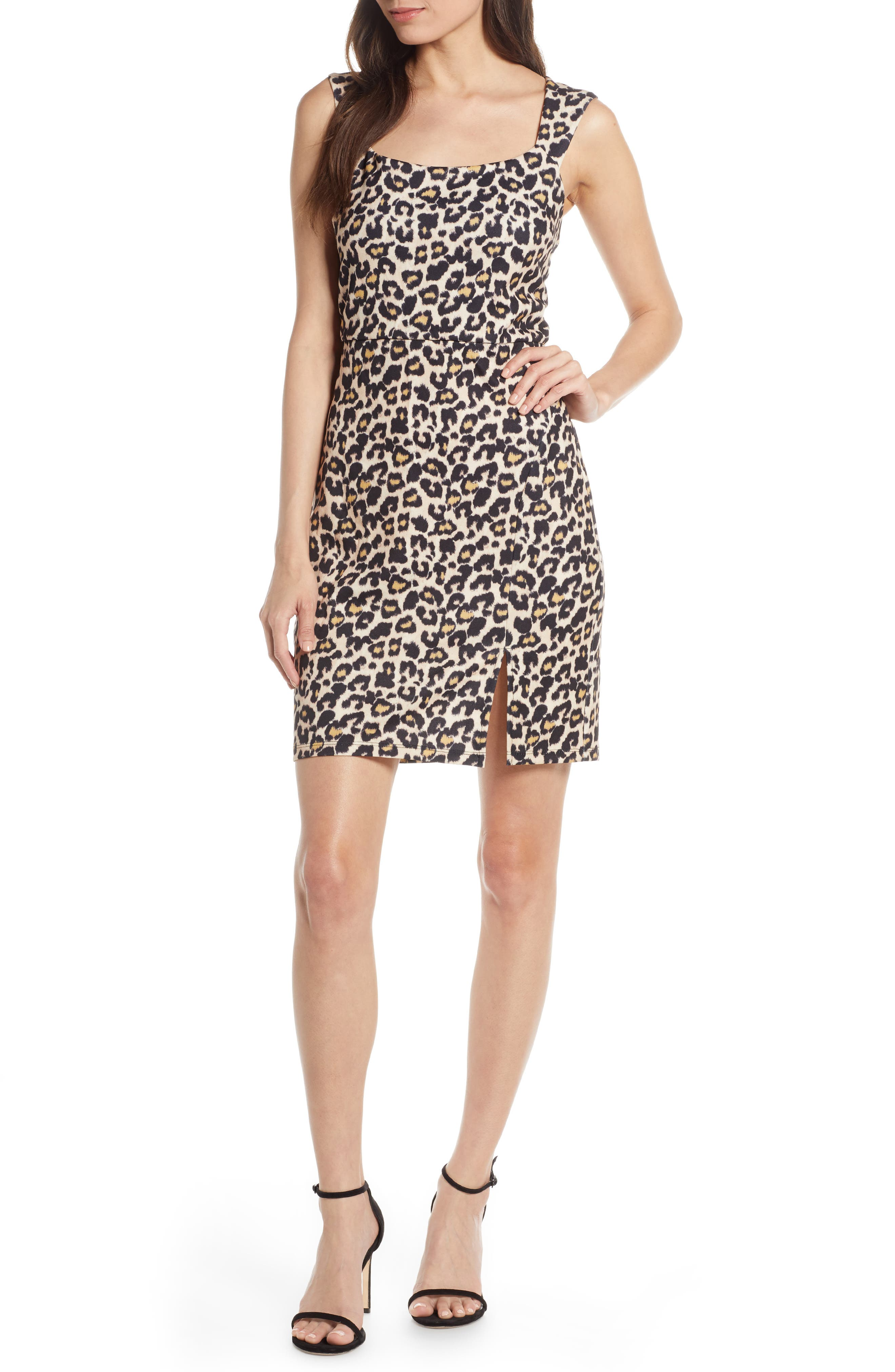 Sequin Hearts Animal Print Scuba Sheath Dress, Beige