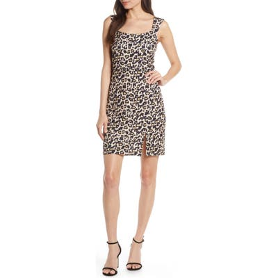 Sequin Hearts Animal Print Scuba Sheath Dress, Beige