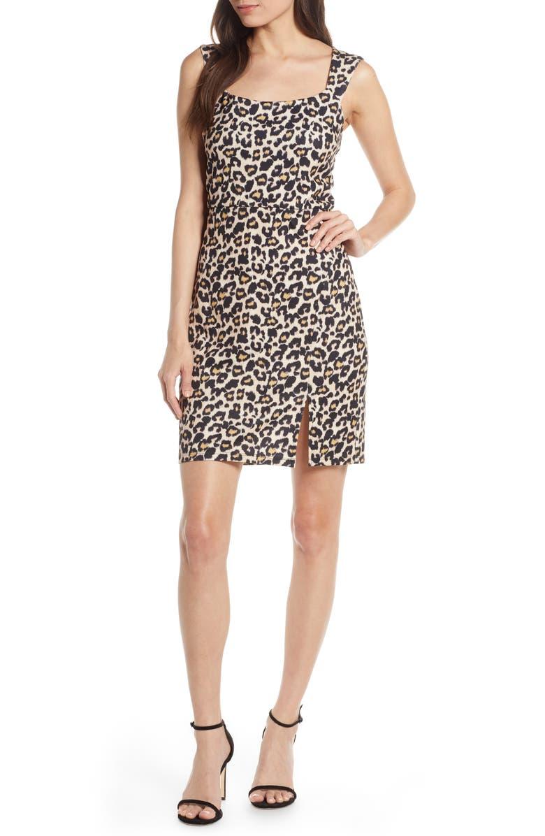 SEQUIN HEARTS Animal Print Scuba Sheath Dress, Main, color, TAN/ BLACK