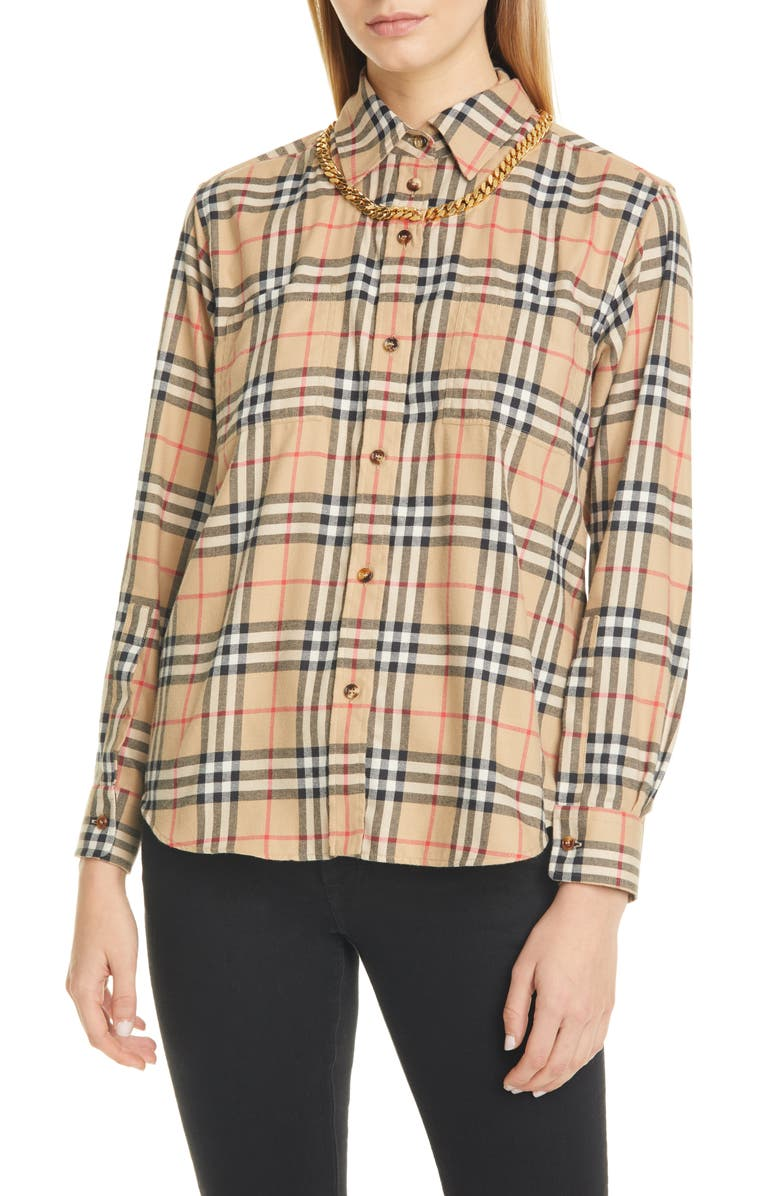 BURBERRY Chain Detail Vintage Check Flannel Shirt, Main, color, 250