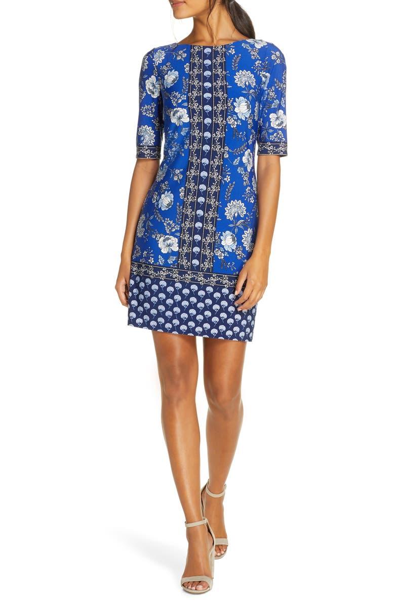 ELIZA J Floral Shift Dress, Main, color, COBALT