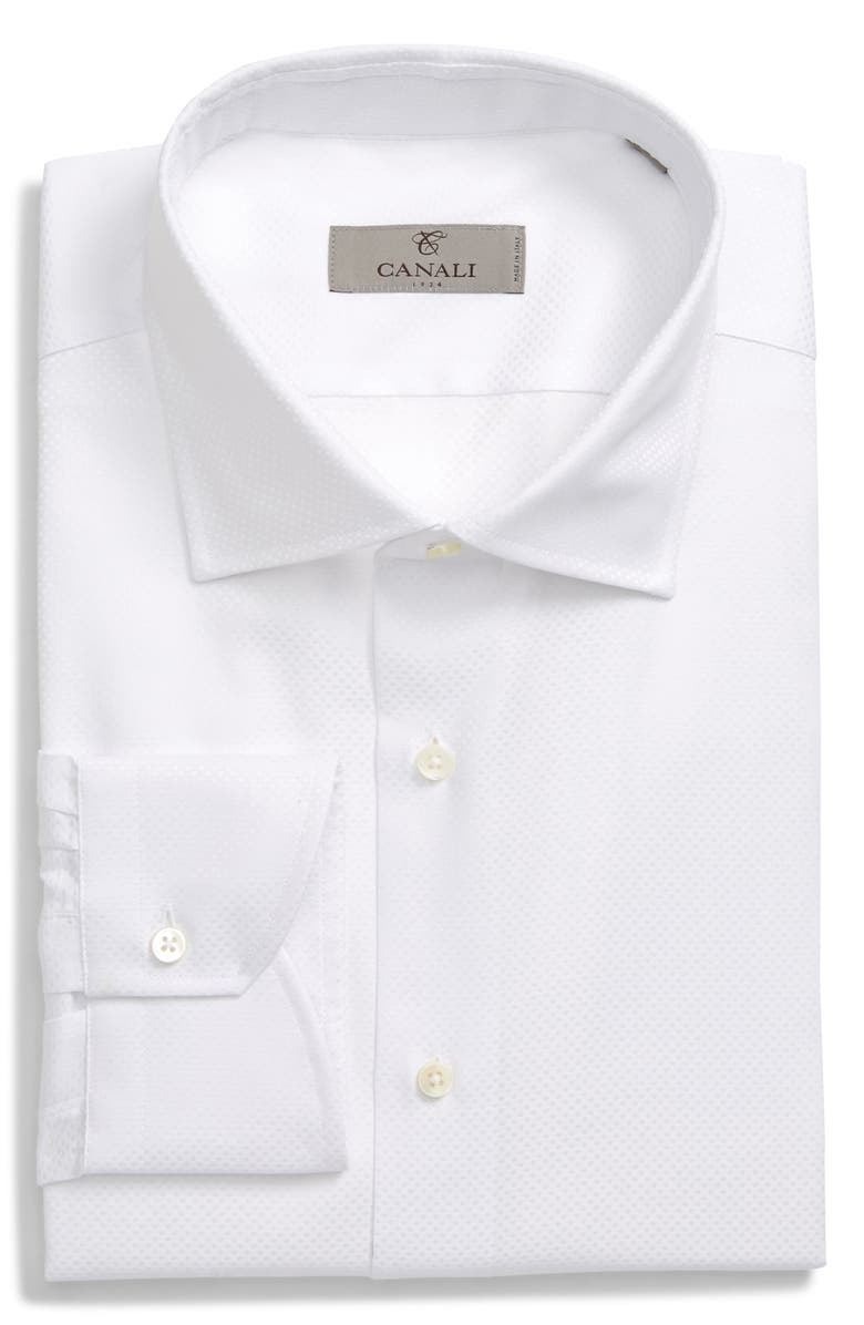 CANALI Slim Fit Solid Dress Shirt, Main, color, WHITE