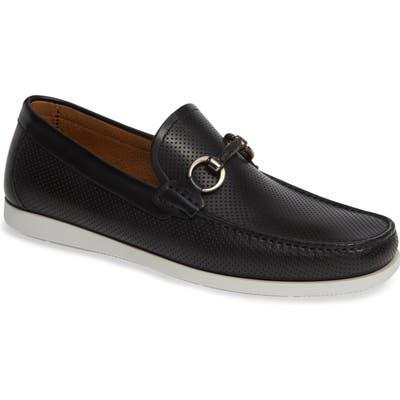 Magnanni Beasley Perforated Moc Toe Bit Loafer- Black