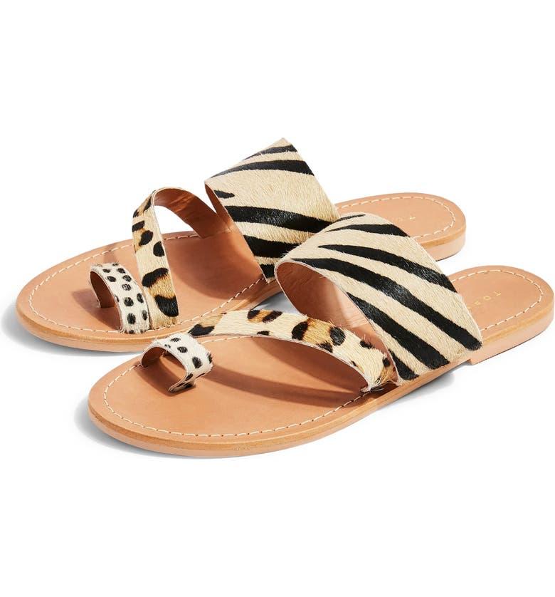 TOPSHOP Honey Genuine Calf Hair Slide Sandal, Main, color, 001