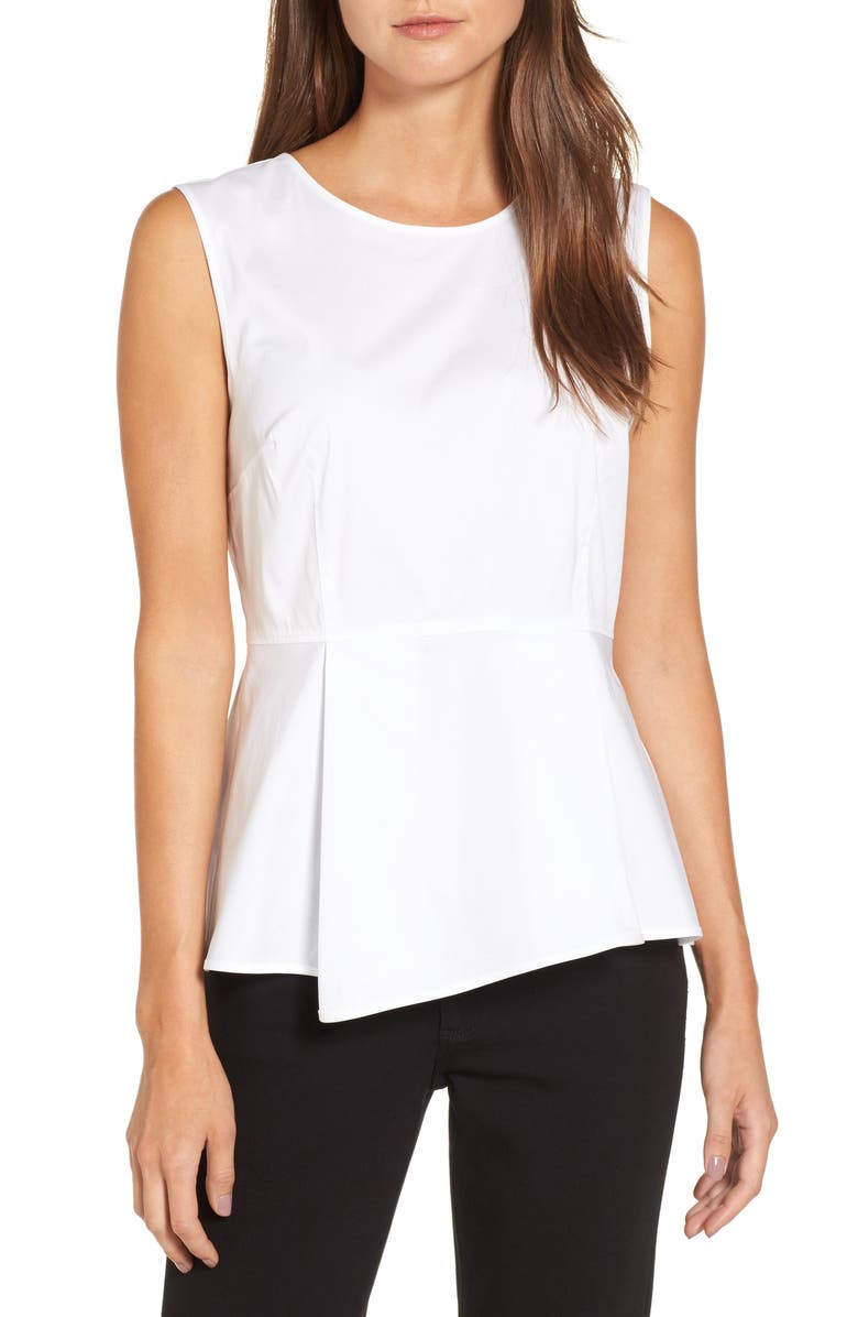 HALOGEN<SUP>®</SUP> Poplin Peplum Top, Main, color, 100