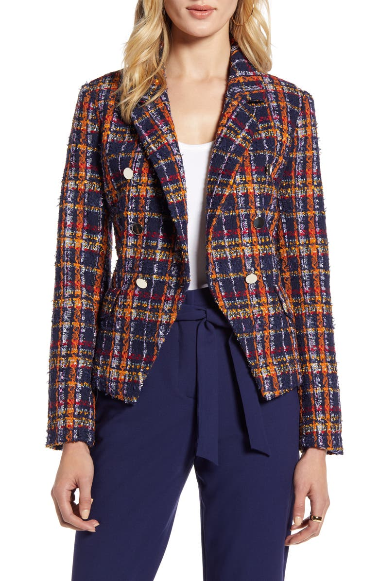 HALOGEN<SUP>®</SUP> Plaid Tweed Jacket, Main, color, NAVY MULTI TWEED