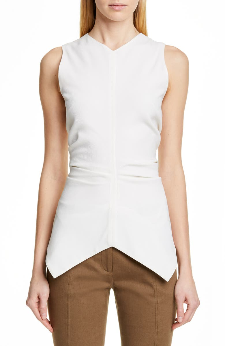 PROENZA SCHOULER Ruched Waist Crepe Top, Main, color, ECRU