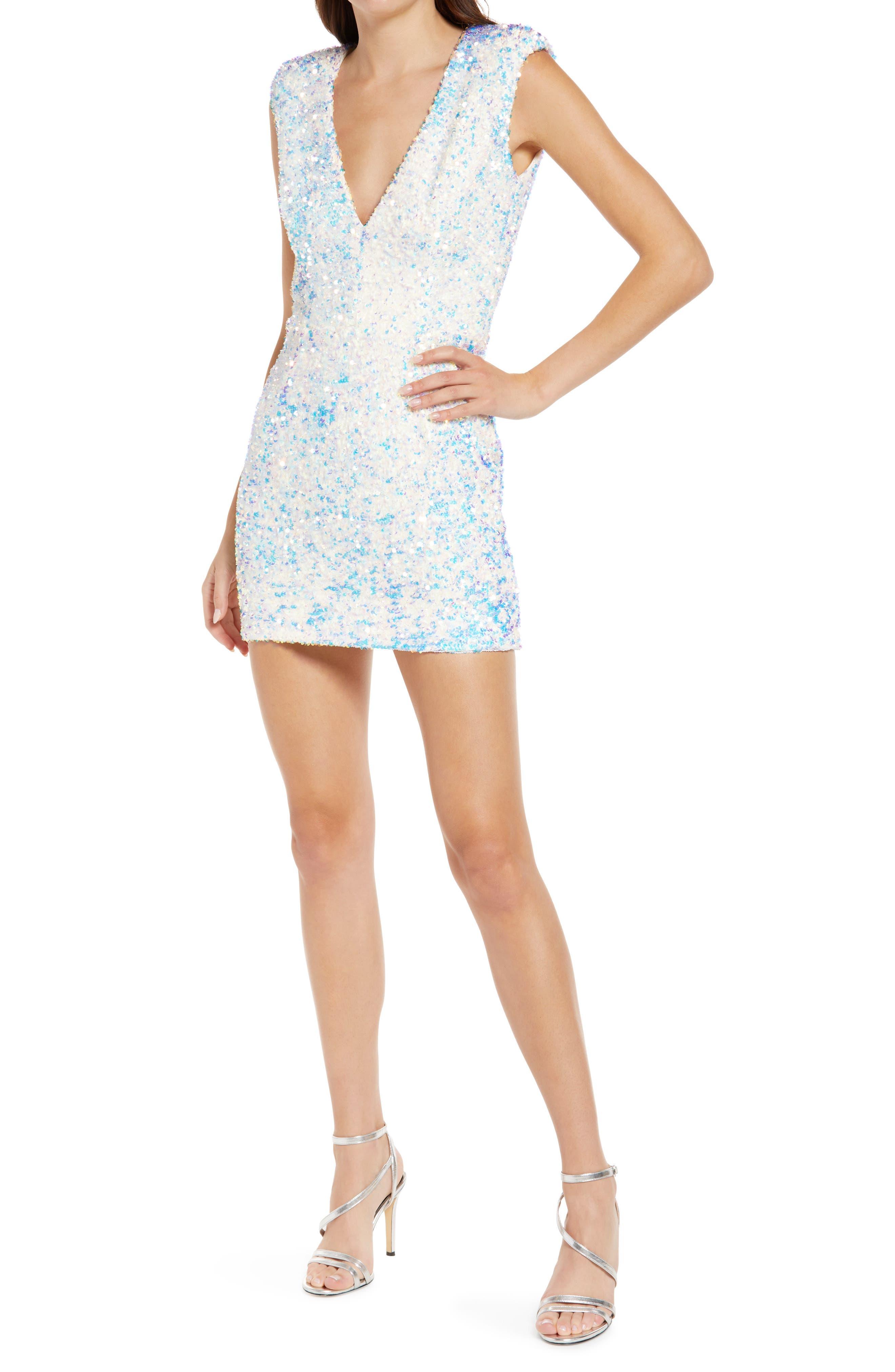 Jodi Sequin Padded Shoulder Sleeveless Minidress