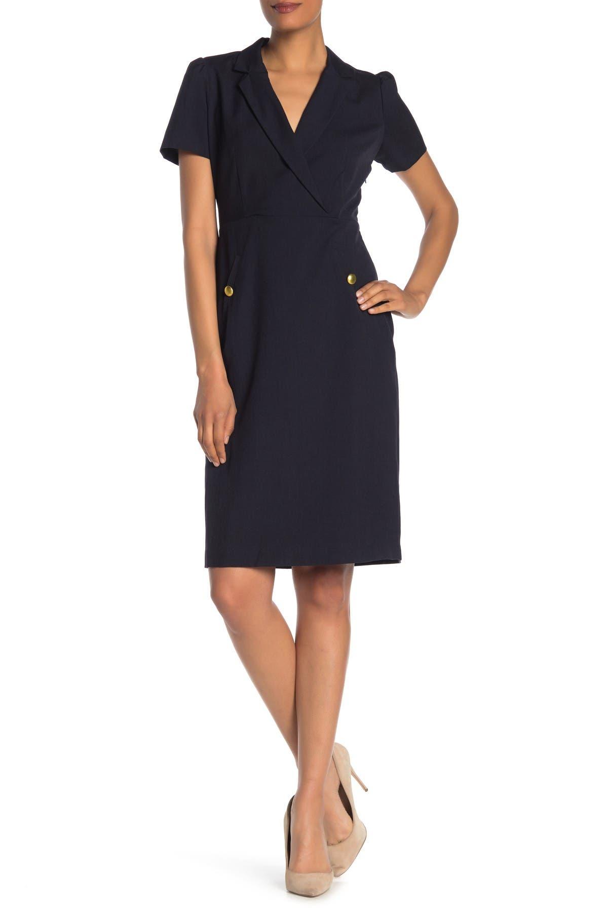 Image of Sharagano Short Sleeve Shift Dress