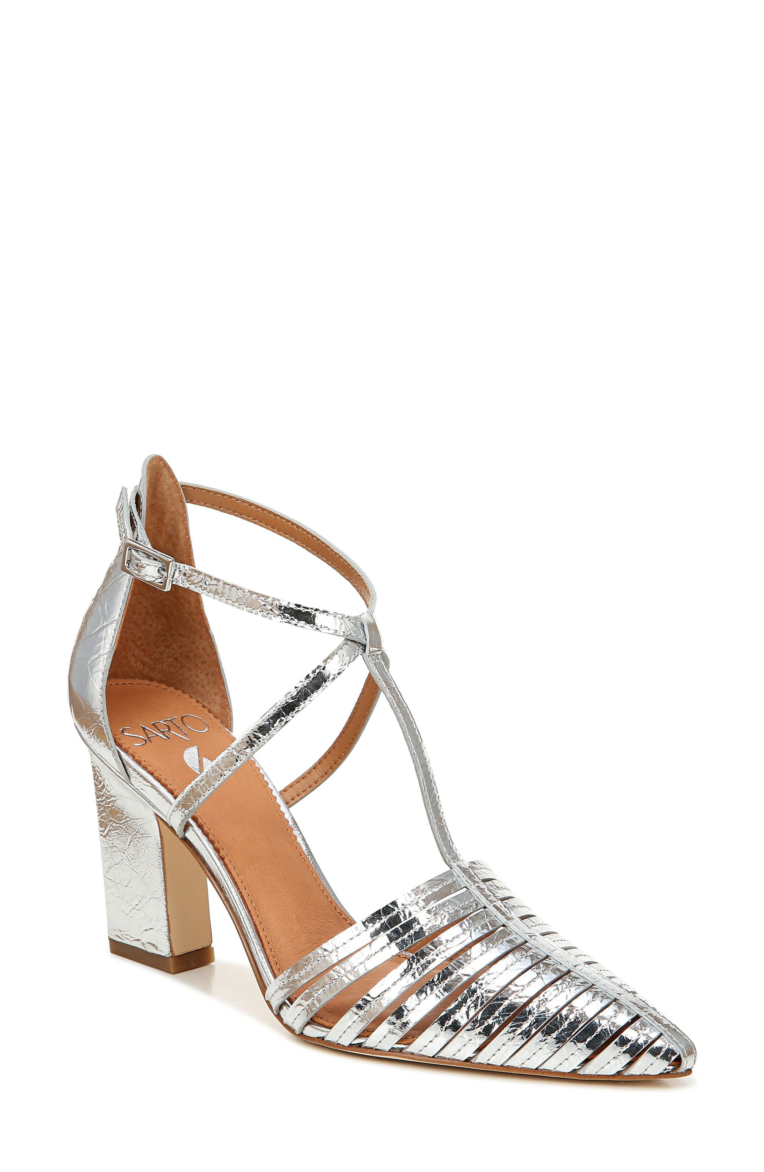 Image of SARTO BY FRANCO SARTO Saira Leather Perforated T-Strap Pump