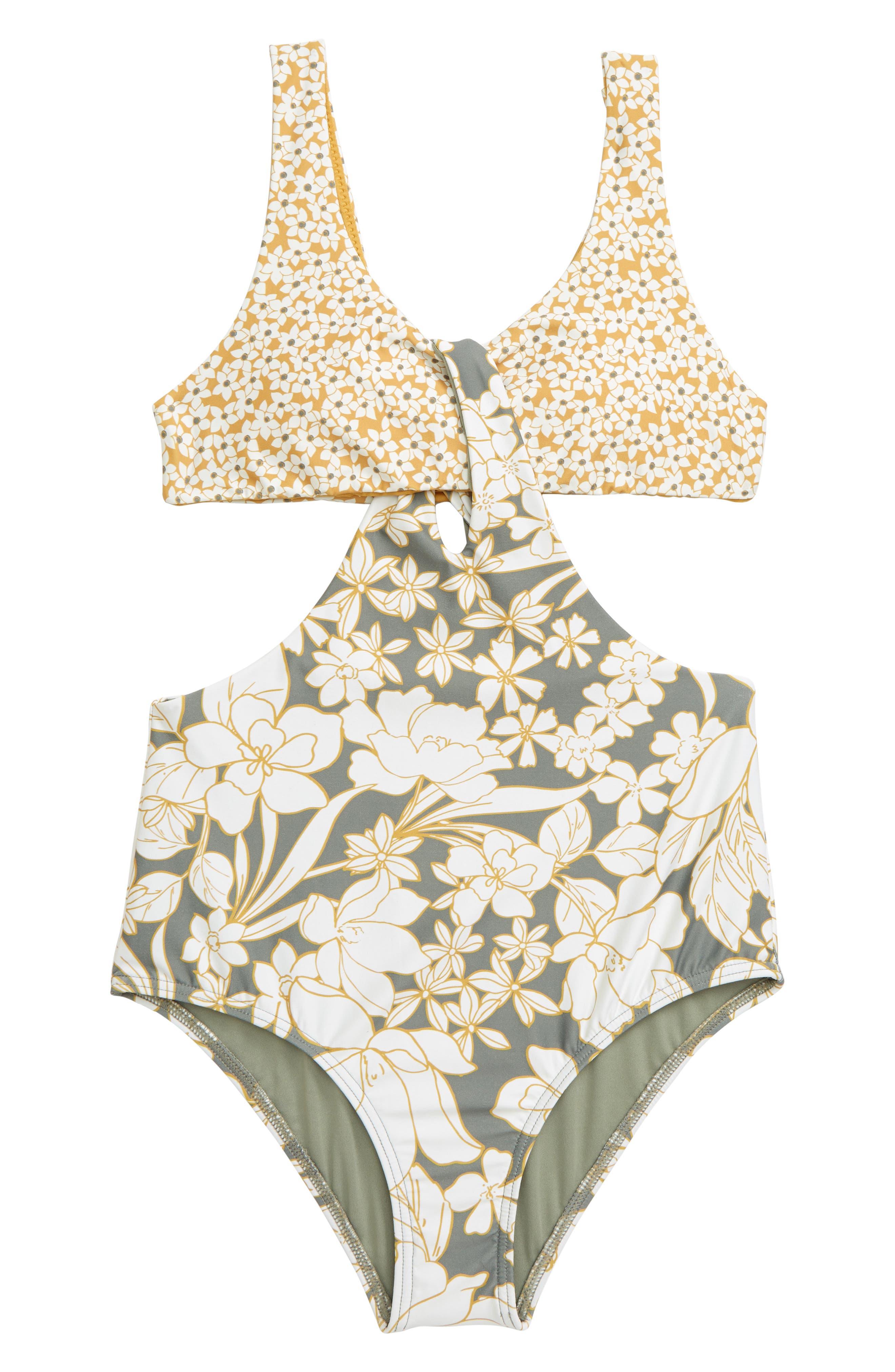 Girls ONeill Embry OnePiece Swimsuit Size 12  Grey