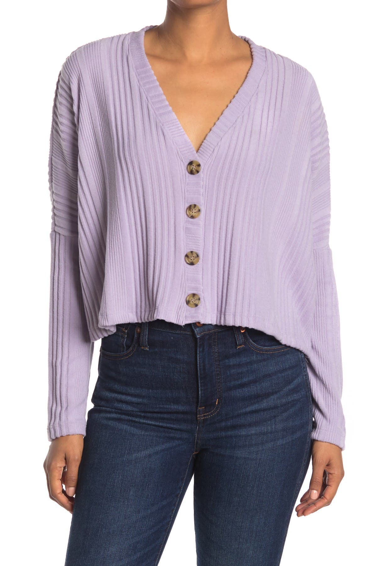 Image of LA LA LAND CREATIVE CO Ribbed Crop Cardigan