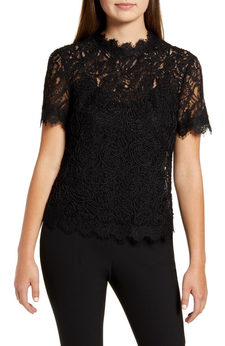 ANNE KLEIN Back Zip Lace Blouse, Main, color, ANNE BLACK