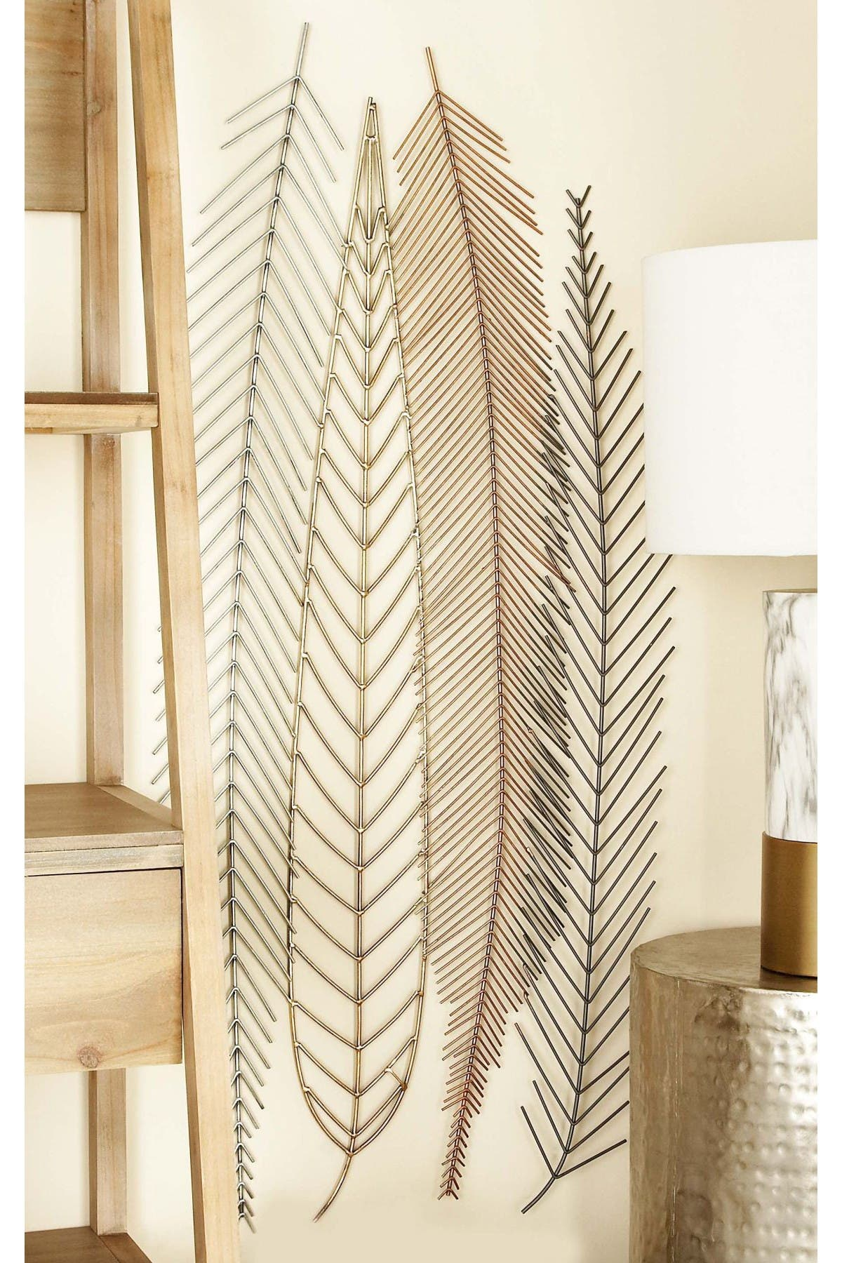Image of CosmoLiving by Cosmopolitan Multi Natural Feather & Leaf Wall Decor