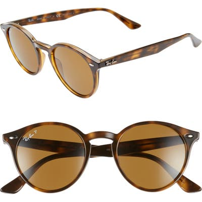Ray-Ban 4m Polarized Round Sunglasses - Dark Havana Solid