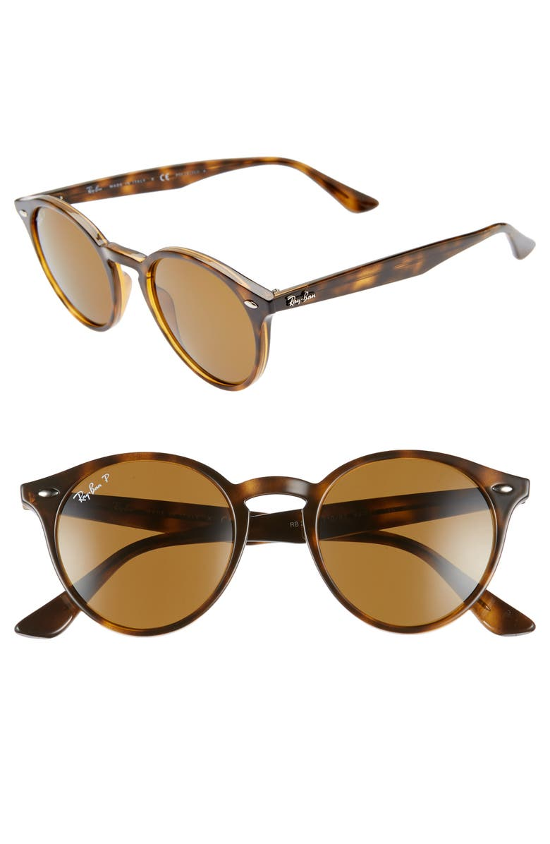 RAY-BAN 49mm Polarized Round Sunglasses, Main, color, DARK HAVANA SOLID