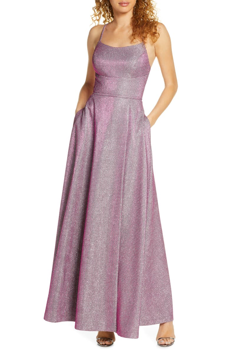 MORGAN & CO. Shimmer Strappy Back Gown, Main, color, BERRY