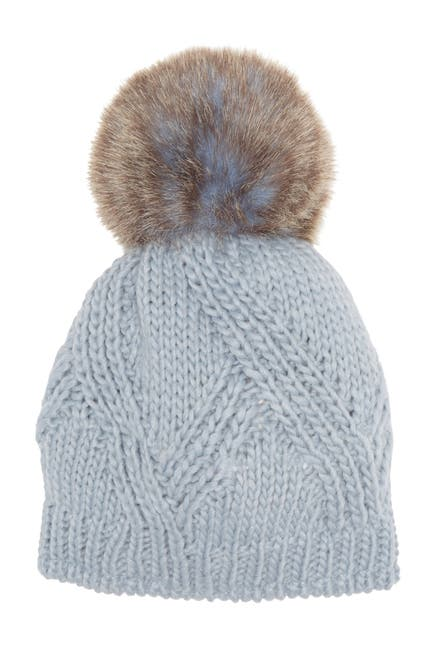 Image of Kyi Kyi Cable Knit Faux Fur Pompom Beanie