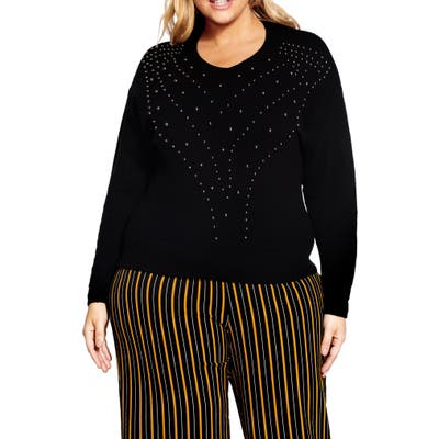 Plus Size City Chic Bauble Sweater, Black