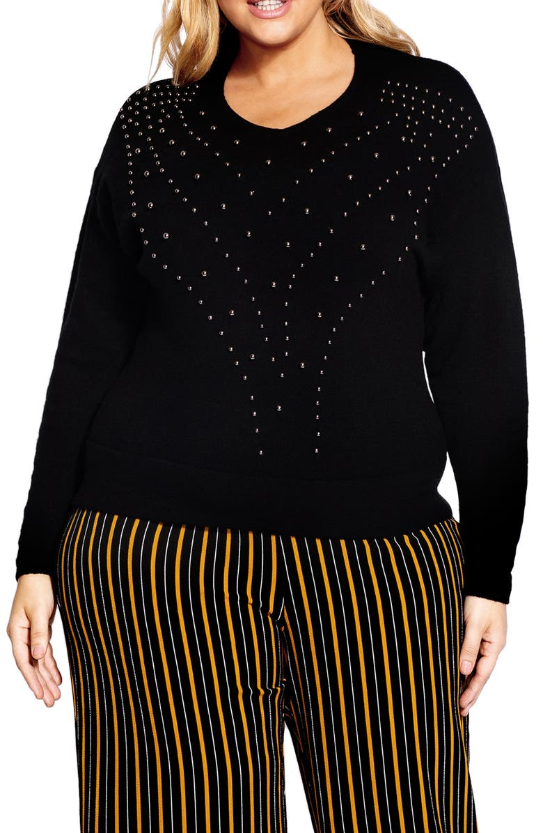 CITY CHIC Bauble Sweater, Main, color, BLACK