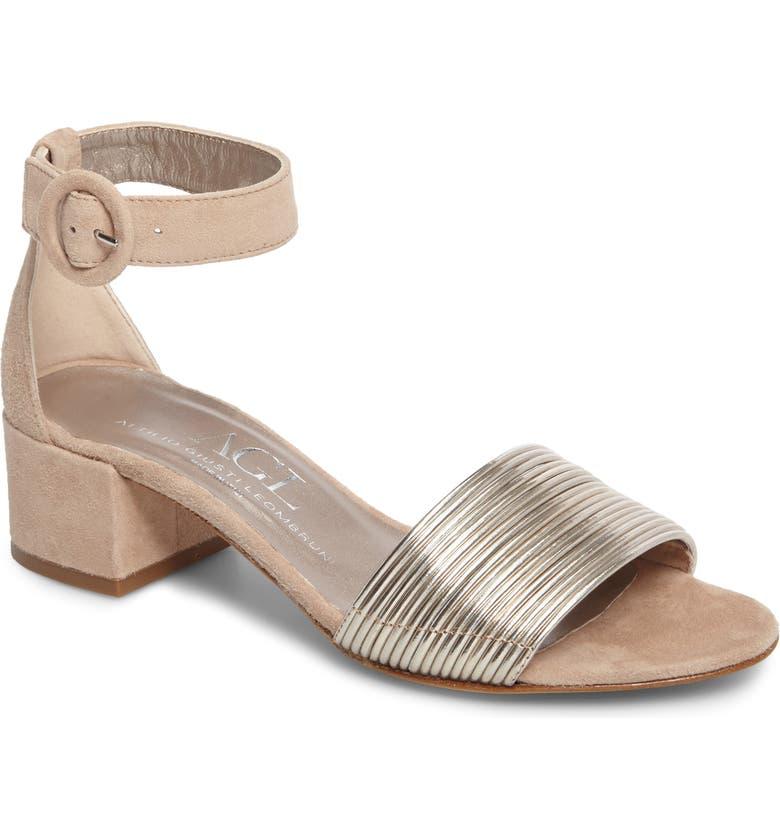 AGL Ankle Strap Sandal, Main, color, PLATINUM SUEDE