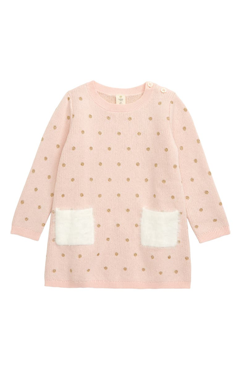 TUCKER + TATE Fuzzy Pocket Sweater Dress, Main, color, PINK ENGLISH- GOLD DOT