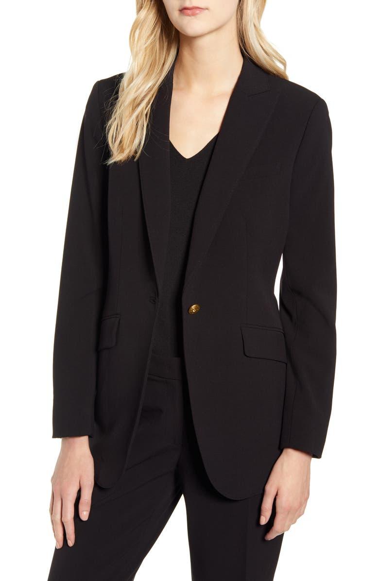 ANNE KLEIN Peaked Lapel Blazer, Main, color, ANNE BLACK